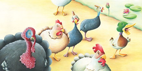 Bruno Robert Illustration - bruno, robert, bruno robert, painted, traditional, paint, commercial, picture book, young reader, YA, sweet, humour, duck, farm, chickens, cockerel,