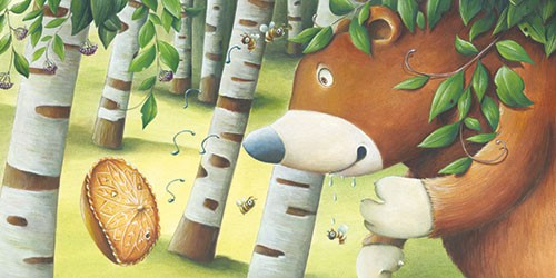 Bruno Robert Illustration - bruno, robert, bruno robert, painted, traditional, paint, commercial, picture book, young reader, YA, bear, woods, honey, food, hunt, trees, autumn
