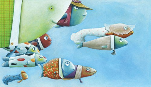 Bruno Robert Illustration - bruno, robert, bruno robert, painted, traditional, paint, commercial, picture book, young reader, fish, ocean, sea, water, characters, wedding, suits, family, friends, occasion, happy