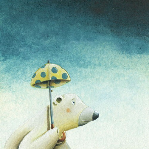Bruno Robert Illustration - bruno, robert, bruno robert, painted, traditional, paint, commercial, picture book, young reader, YA, polar bear, cold, winter, rain, sad, weather, umbrella
