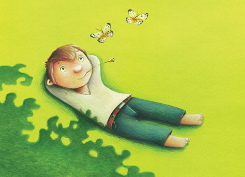Bruno Robert Illustration - bruno, robert, bruno robert, painted, traditional, paint, commercial, picture book, young reader, you, boy, green, grass, field, nature, summer, flowers, plants,