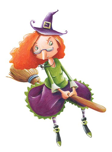 Bruno Robert Illustration - bruno, robert, bruno robert, painted, traditional, paint, commercial, picture book, young reader, witch, hat, broomstick, magic, flying, fantasy, stripes, glasses, angry