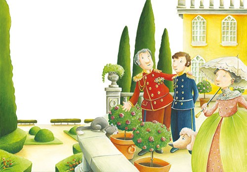 Bruno Robert Illustration - bruno, robert, bruno robert, painted, traditional, paint, commercial, picture book, young reader, YA, cute, sweet, people, garden, estate, maze, cat, pet, animal, men, woman, umbrella, historical, rich, fancy, mansion, house, plants, roses, bush, sheep,