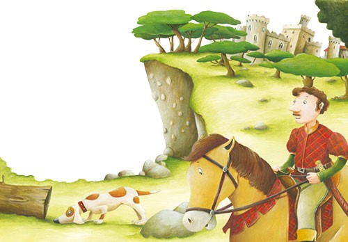 Bruno Robert Illustration - bruno, robert, bruno robert, painted, traditional, paint, commercial, picture book, young reader, YA, cute, sweet, man, person, horse, riding, castle, forest, woods, dog, log, grass, field, trees, nature, rocks, ride, animals,