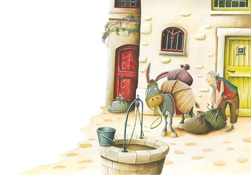 Bruno Robert Illustration - bruno, robert, bruno robert, painted, traditional, paint, commercial, picture book, young reader, YA, cute, sweet, donkey, animal, street, buildings, house, road, man, bags, well, water, bucket, stone,