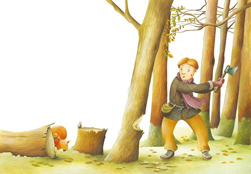 Bruno Robert Illustration - bruno, robert, bruno robert, painted, traditional, paint, commercial, picture book, young reader, YA, cute, sweet, man, person, character, woods, trees, axe, squirrel, chop, forest, stump, chopping down,