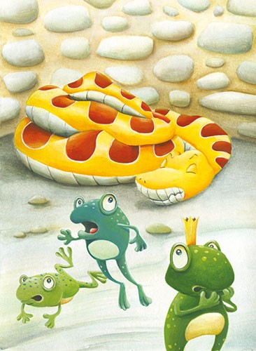 Bruno Robert Illustration - bruno, robert, bruno robert, painted, traditional, paint, commercial, picture book, young reader, YA, cute, sweet, frogs, animals, king, crown, frog king, scared, snake, sleeping, running, jump, hop, wall, stone, nature, wild