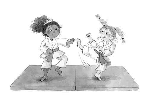 Charlotte Cotterill  Illustration - charlotte, cotterill, charlotte cotterill, illustrator, digital, watercolour, traditional, black and white, b&w, pencil, girls, characters, people, karate, martial arts, sport, activity, fighting, judo, kick, fun,