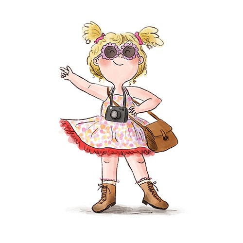 Charlotte Cotterill  Illustration - charlotte, cotterill, charlotte cotterill, illustrator, digital, watercolour, traditional, colour, colourful, pencil, girl, person, character, dress, sunglasses, dressing up, handbag, happy, dancing, dance,