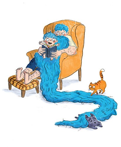 Charlotte Cotterill  Illustration - charlotte, cotterill, charlotte cotterill, illustrator, digital, watercolour, traditional, colour, colourful, pencil, man, son, father, boy, child, kid, book, chair, reading, blue, hair, blue hair, beard, long, long hair, cat, dog, funny,