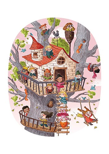 Charlotte Cotterill  Illustration - charlotte, cotterill, charlotte cotterill, illustrator, digital, watercolour, traditional, colour, colourful, pencil, house, tree, treehouse, branches, boys, girls, children, kids, playing, ladder, chimney, swing, laughing, happy, fun, nature