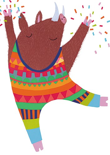 Christine Cuddihy Illustration - christine, cuddihy, christine cuddihy, illustrator, handdrawn, pencil, watercolour, digital, photoshop, traditional, line, line work, paint, colour, colourful, warthog, hog, pic, dancing, leotard, pattern, confetti, dancer, activity, sport, happy, tusks,