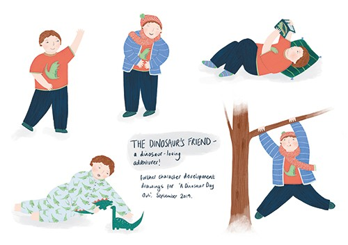 Christine Cuddihy Illustration - christine, cuddihy, christine cuddihy, illustrator, handdrawn, pencil, watercolour, digital, photoshop, traditional, line, line work, paint, colour, colourful, boy, character, person, child, tree, climbing, playing, dinosaur, toy, reading, book, activitie