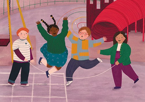 Christine Cuddihy Illustration - christine, cuddihy, christine cuddihy, illustrator, handdrawn, pencil, watercolour, digital, photoshop, traditional, line, line work, paint, colour, colourful, boys, girls, children, friends, playground, playing, game, skipping rope, rope, skipping, fun,