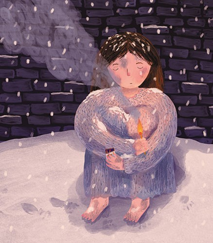 Christine Cuddihy Illustration - christine, cuddihy, christine cuddihy, illustrator, handdrawn, pencil, watercolour, digital, photoshop, traditional, line, line work, paint, colour, colourful, woman, person, sad, cold, light, match, fire, smoke, snow, footprints, winter, seasonal, snowin