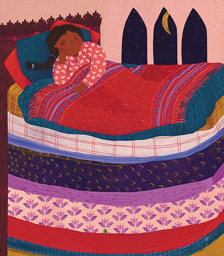Christine Cuddihy Illustration - christine, cuddihy, christine cuddihy, illustrator, handdrawn, pencil, digital, photoshop, traditional, line, line work, paint, colour, colourful, woman, person, princess, bed, mattress, mattresses, pea, princess and the pea, tale, story, fairytale