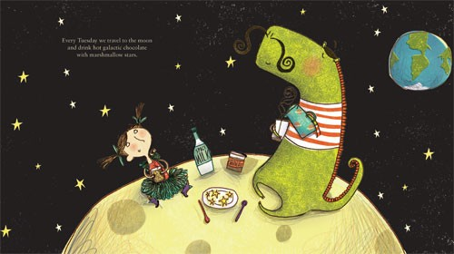 Catalina Echeverri Illustration - catalina echeverri, catalina, echeverri, trade, commercial, fiction, picture book, educational, digital, mixed media, people, children, girls, dinosaurs, t-rex, trex, tyrannosaurus rex, space, moon, planets, stars, earth, picnic