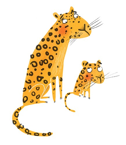 Catalina Echeverri Illustration - catalina echeverri, catalina, echeverri, trade, commercial, fiction, picture book, educational, digital, mixed media, photoshop, illustrator, colourful, colour, leopards, animals, mother, daughter