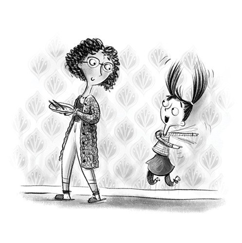 Catalina Echeverri Illustration - catalina echeverri, catalina, echeverri, trade, commercial, fiction, picture book, educational, digital, mixed media, photoshop, illustrator, black and white, b&w, line, characters, mum, mother, daughter, girl, jump, happy, home,