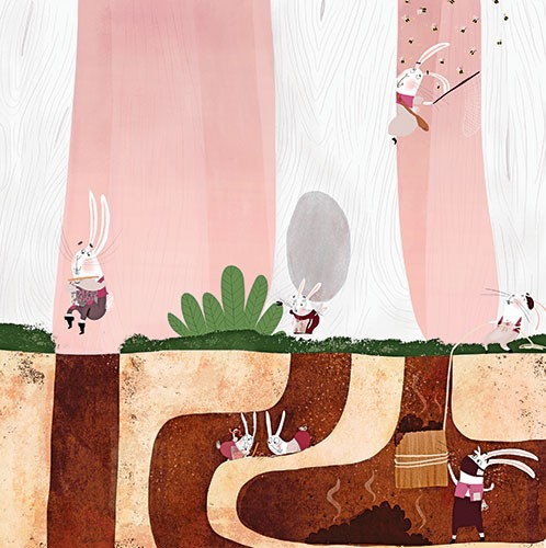Catalina Echeverri Illustration - catalina echeverri, catalina, echeverri, trade, commercial, fiction, picture book, educational, digital, mixed media, photoshop, illustrator, colourful, colour,  rattiest, bunny, bunnies, home, house, jumping, woods, nature, fire, bees, humour, funny,