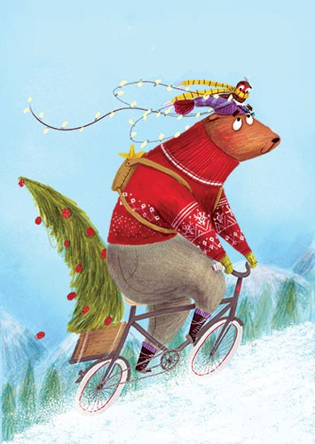 Catalina Echeverri Illustration - catalina echeverri, catalina, echeverri, trade, commercial, fiction, picture book, educational, digital, mixed media, photoshop, illustrator, colourful, colour, bear, christmas, lights, twinkle, festive, robin, hat, bike, cycling, cyclist, snow, winter, tree, christmas tree, hat, scarf, gloves, hill