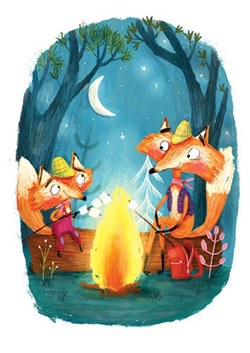 Catalina Echeverri Illustration - catalina echeverri, catalina, echeverri, trade, commercial, fiction, picture book, educational, digital, mixed media, photoshop, illustrator, colourful, colour, foxes, fire, marshmallows, night, flame, toasting, camping, trees, forest, woods, scary, hats,