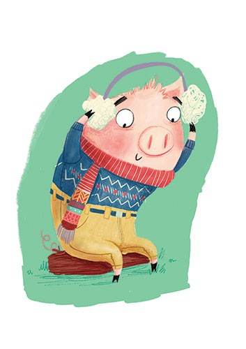 Catalina Echeverri Illustration - catalina echeverri, catalina, echeverri, trade, commercial, fiction, picture book, educational, digital, mixed media, photoshop, illustrator, colourful, colour, pig, headphones, music, earmuffs, cols, winter, jumper, scarf, humour, funny, piglet, grass, wildlife