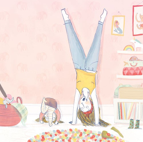 Catalina Echeverri Illustration - catalina echeverri, trade, commercial, fiction, picture book, educational, digital, mixed media, photoshop, illustrator, colourful, colour, family, mother, daughter, people, woman, girl, playing, bedroom, handstands, fun, silly, laughing, love, heart, nec