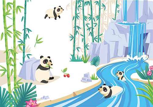 Clementine Guivarch Illustration - clementine, guivarch, illustrator, colour, colourful, texture, pencil, digital, pen, drawing, graphic novel, nature, animals, wild, environments, habitats, geography, non fiction, pandas, come, bamboo, river, water, fun, bears, rocks, educational,