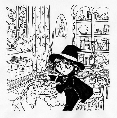 Clementine Guivarch Illustration - clementine guivarch, illustrator, black and white, b & w, texture, pencil, digital, pen, drawing, fiction, picture book, witch, girl, character, halloween, spooky, seasons, autumn, fall, house, home, cauldron, cooking, potion, bubbles, witchcraft, hat, cl
