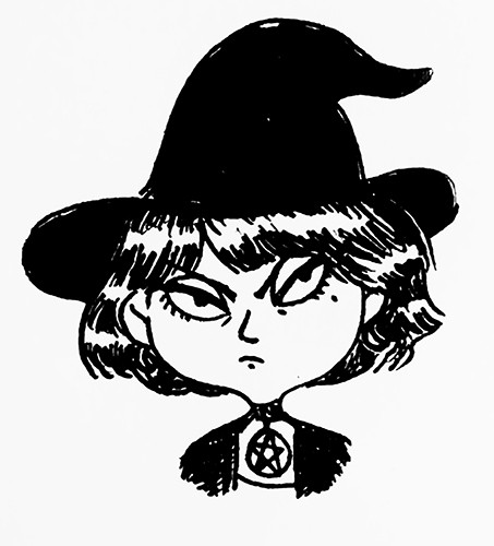 Clementine Guivarch Illustration - clementine guivarch, illustrator, black and white, b & w, texture, pencil, digital, pen, drawing, fiction, picture book, character, witch, person, girl, hat, pendant, star, pentagram, grumpy, middle grade, hat, witches hat,