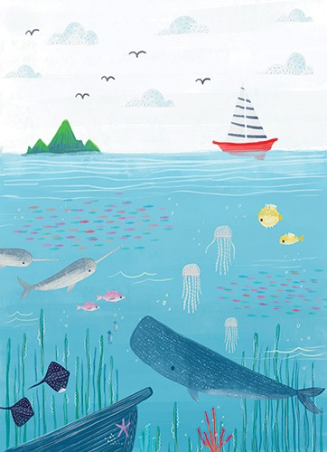 Ciara Ni Dhuinn Illustration - ciara ni dhuinn, illustrator, illustration, artist, handdrawn, photoshop, picturebook, trade, YA, young reader, quirky, whale, sea, ocean, water, fish, stingray, jellyfish, boat, mountain, birds, clouds, starfish, boat, seaweed