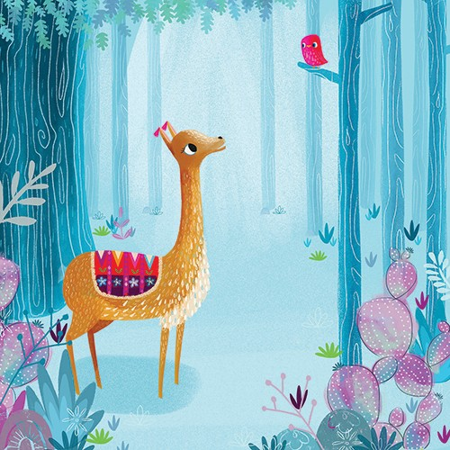 Ciara Ni Dhuinn Illustration - ciara ni dhuinn, illustrator, illustration, artist, handdrawn, photoshop, picturebook, trade, YA, young reader,deer, animal, forest, woods, trees,birds, pattern, flowers