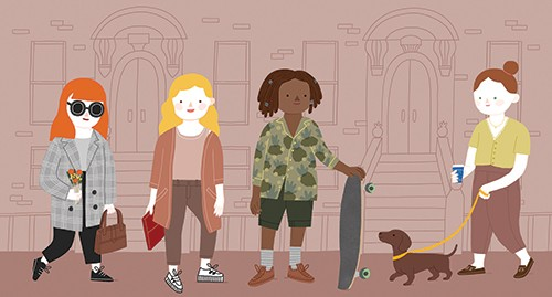 Cristina De Lera  Illustration - cristina, de lera, cristina de lera, illustration, digital, mass market, trade, colourful, picture books, young reader, colour, photoshop, women, girls, characterises trees, buildings, houses, skateboard, dog, pet, animals, walking, trendy, handbag, flowe