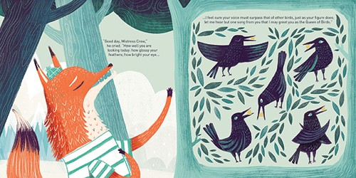 Ciara Ni Dhuinn Illustration - iara ni dhuinn, illustrator, illustration, artist, handdrawn, photoshop, picturebook, trade, YA, young reader, quirky, clouds, trees, bird, fox, forest, flowers, pattern. colourful, birds