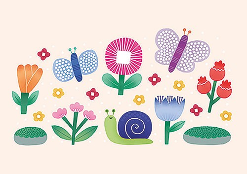 Cristina De Lera  Illustration - cristina, de lera, cristina de lera, illustration, digital, mass market, trade, colourful, picture books, young reader, colour, photoshop, flowers, vector, butterfly, animals, insects, nature, snail, animals, rocks, moss,
