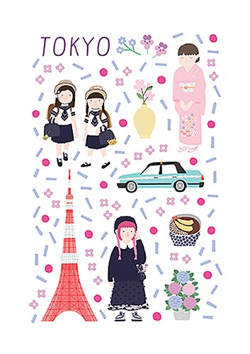 Cristina De Lera  Illustration - cristina, de lera, cristina de lera, illustration, digital, mass market, trade, colourful, picture books, young reader, colour, photoshop, travel, places, city, tokyo, japan, people, women, girls, school, kimono, car, flowers, pattern, culture