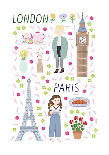 Cristina De Lera  Illustration - cristina, de lera, cristina de lera, illustration, digital, mass market, trade, colourful, picture books, young reader, colour, photoshop, travel, places, city, paris, london, people, women, girls, culture, eiffel tower, big ben, clock, flowers, tea, croi
