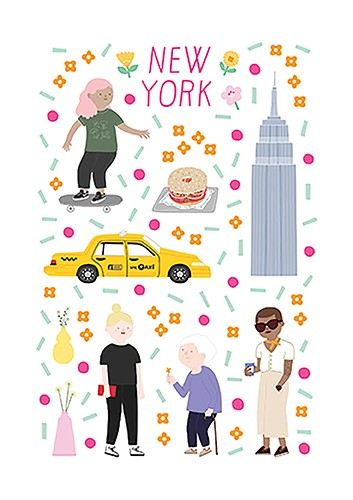 Cristina De Lera  Illustration - cristina, de lera, cristina de lera, illustration, digital, mass market, trade, colourful, picture books, young reader, colour, photoshop, travel, places, city, new, york, america, people, women, girls, culture, pattern, empire state building, taxi, bagel