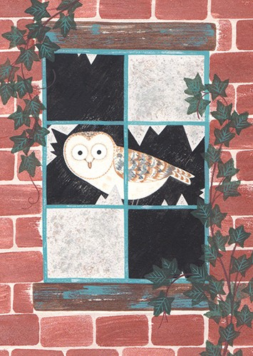 Christine Pym Illustration - christine pym, linocut, watercolour, painted, printed, traditional, trade, picture book, commercial, greetings cards, owl, animal, bird, window, ivy, texture, YA, young reader