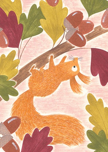 Christine Pym Illustration - christine pym, linocut, watercolour, painted, printed, traditional, trade, picture book, commercial, greetings cards, squirrel, animal, leaves, acorns, texture, YA, young reader