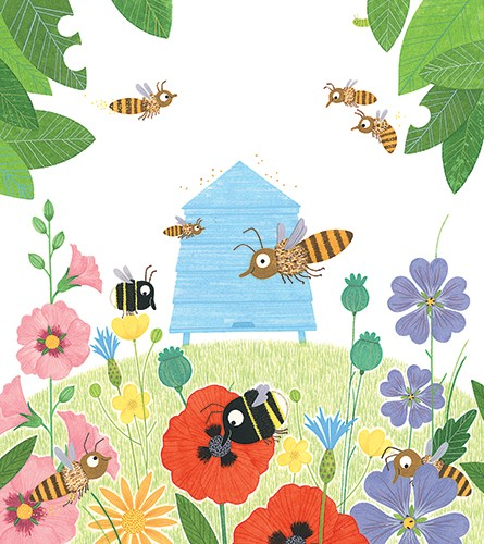 Christine Pym Illustration - christine pym, linocut, watercolour, painted, printed, traditional, trade, picture book, commercial, greetings cards, bees, flowers, colour, leaves, insects, YA, young reader