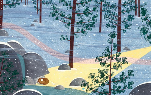 Christine Pym Illustration - christine pym, linocut, watercolour, painted, printed, traditional, trade, picture book, commercial, seasons, snow, snowing, cold, winter, forest, woods, animal, hiding, outside, outdoors