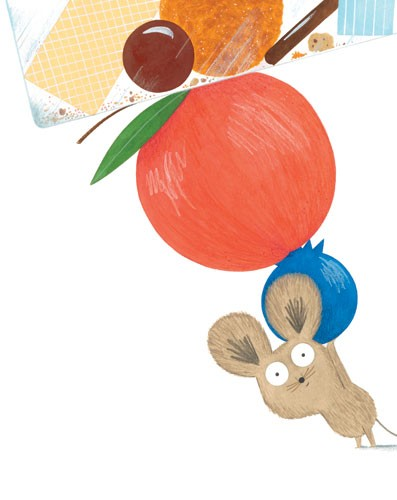 Christine Pym Illustration - christine pym, linocut, watercolour, painted, printed, traditional, trade, picture book, commercial, greetings cards, mouse, cute, sweet, mice, food, kitchen, fruit, biscuits, sausage, cake, crumbs, apple,