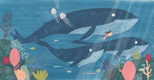 Christine Pym Illustration - christine pym, linocut, watercolour, painted, printed, traditional, trade, picture book, commercial, greetings cards, gouache, ocean, sea, water, whales, swimming, girl, fish, coral, plants,