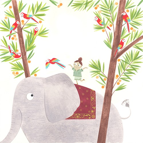 Christine Pym Illustration - christine pym, linocut, watercolour, painted, printed, traditional, trade, picture book, commercial, greetings cards, elephant, tropical, trees, plants, parrots, girl, safari, travel,