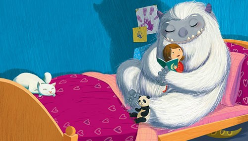 Claudia Ranucci Illustration - claudia ranucci, claudia, ranucci, picture book, commercial, young, mass market, digital, photoshop, illustrator, young reader, monster, yeti, girl, hug, cuddle, friends, bedroom, bed, reading, book, teddy, panda, cat,