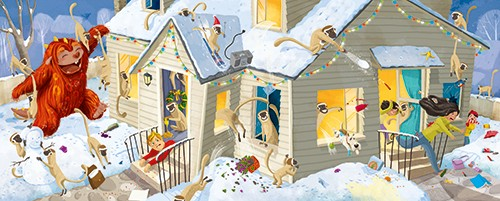 Claudia Ranucci Illustration - claudia ranucci, claudia, ranucci, picture book, commercial, young, mass market, trade, digital, photoshop, illustrator, monster, house, funny, chaos, monkeys, animals , christmas