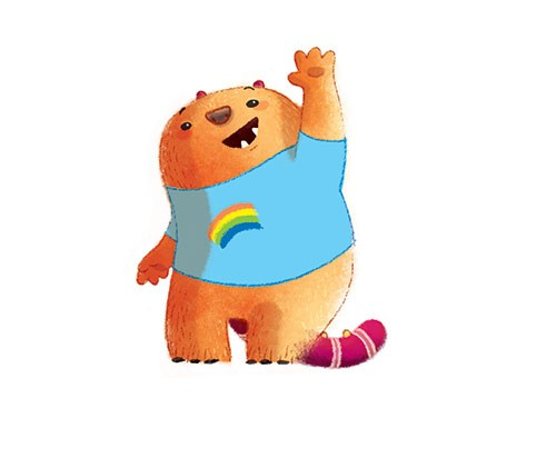 Claudia Ranucci Illustration - claudia ranucci, claudia, ranucci, picture book, commercial, young, mass market, trade, digital, photoshop, illustrator, bear, cute, kid, child, waving, hello, greeting, rainbow, happy, smile