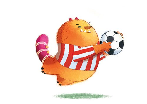 Claudia Ranucci Illustration - claudia ranucci, claudia, ranucci, picture book, commercial, young, mass market, trade, digital, photoshop, illustrator, bear, cute, kid, child, fluffy, monster, football, sports, fun, games, playing, goalkeeper, uniform, game